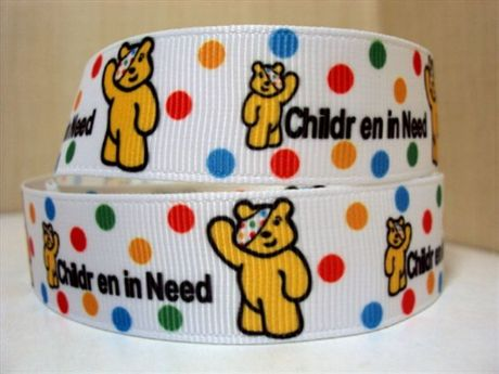 1 METRE PUDSEY BEAR CHILDREN IN NEED RIBBON SIZE 7/8s BOWS HEADBANDS HAIR CLIPS